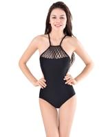 TCBSG Een Stuk Sling Bikini Riem Hoge Hals Zwart Badpak vrouwen Zwempak Hoge Cut Badmode Zomer Zwemmen Zwemmer dragen