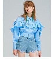 High Quality Women New Fashion Blouse Rivets Ruffles Long Sleeve Ladies Chic Blouse Women Cute Blouse