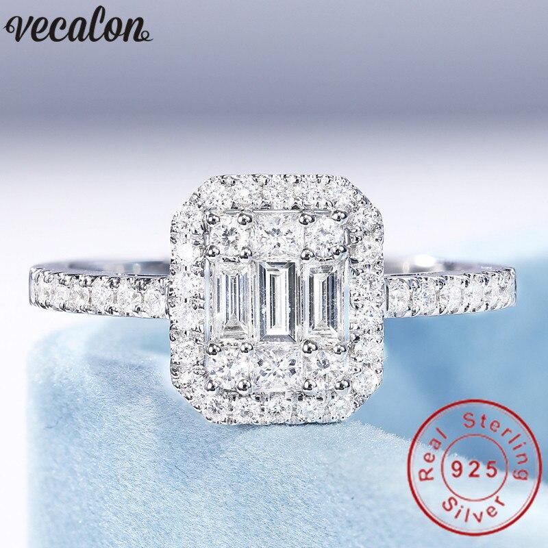 Vecalon Bijoux 100% Réel 925 Sterling Argent promise ring T forme 5A Zircon Cz Engagement wedding Band anneaux pour les femmes de mariée