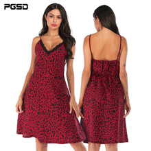 PGSD New Summer holiday casual Sexy lace stitching deep V-neck Backless fitted waist Leopard-print Sling Dress Women clothes