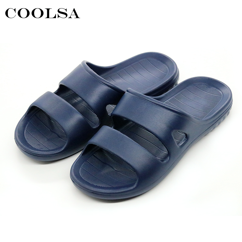 Coolsa New Hot Summer Men Slippers EVA Basic Solid Flat Bottom Soft Slides Home Shoes Bathroom Flip Flops Causal Beach Sandals coolsa men s non slip linen slippers zapatos hombre eva soles canvas cotton fabric vamp slippers men s slides fashion flip flops