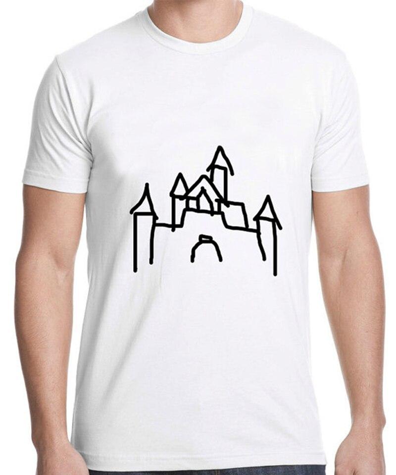 T Shirt Graphic T Shirts Men Clothes 2018 Cotton Men T Shirt Tops Graphic Tees Plus Size Castle Graphic XS-3XL White T Shirt