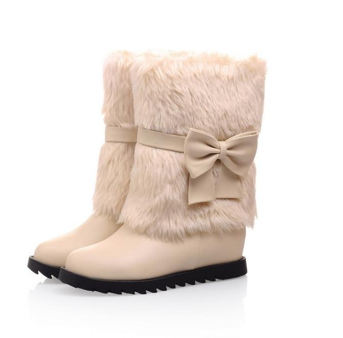 2019 new women snow boots autumn winter short boot with fur Height Increasing Warmer winter ankle boots with bow lady shoes2019 new women snow boots autumn winter short boot with fur Height Increasing Warmer winter ankle boots with bow lady shoes