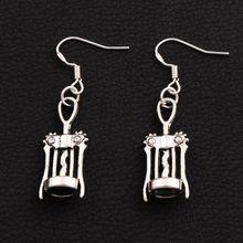 30pairs Antique Silver Wine Corkscrew Opener Earrings 925 Fish Ear Hook Chandelier E285 44.7x11.3mm