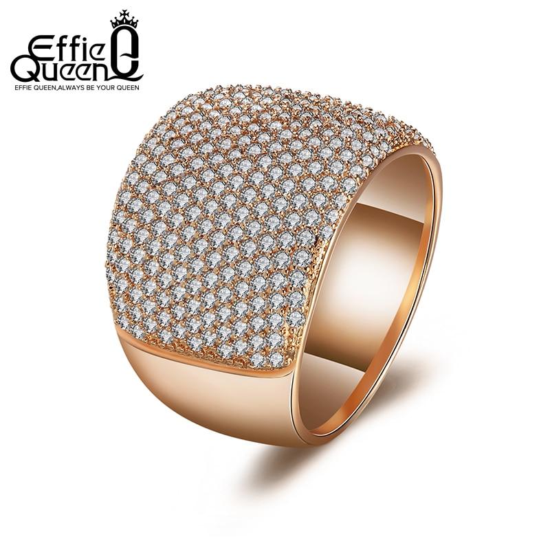 Effie Queen aranyszínű kristálygyűrűk 224 db-os nőknek AAA cirkónia esküvői női tizenéves ékszerek DDR09