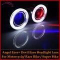 Motocicleta HID Bi xenon Proyector Lente Luz Kit Faros Con Angel Halo Y Devil Evil Eyes Racebike Superbike Sportbike