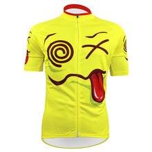Extranjero SportsWear Exagerada Patrón de Vértigo Hombres Ciclismo ropa de Manga Corta Ciclismo Jersey Summer Amarillo Tamaño XS A 5XL