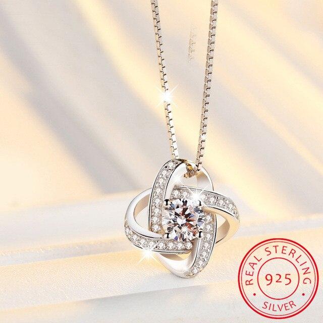 LEKANI nouveautés 925 argent Sterling cristal trèfle colliers pendentif offre spéciale bijoux en argent pur pour les femmes