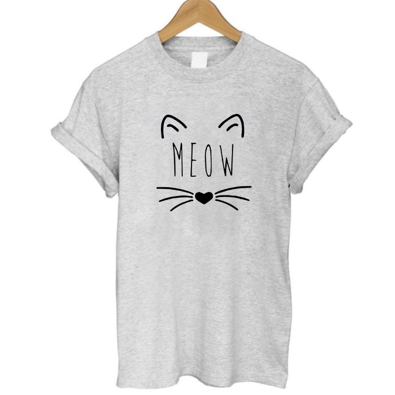 Meow Cat Print Womens T-Shirt 100% Cotton