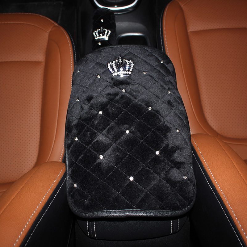 Crown-Crystal-Plush-Car-Armrests-Cover-Pad-Universal-Vehicle-Center-Console-Black-Arm-Rest-Seat-Box-2