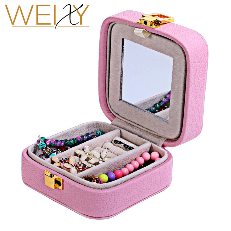 WEIXY 2018 New Fashion Leather Jewelry Sets Box Earrings Rings Display Pink Color Gift Organizer Cosmatic Box Birthday Gift