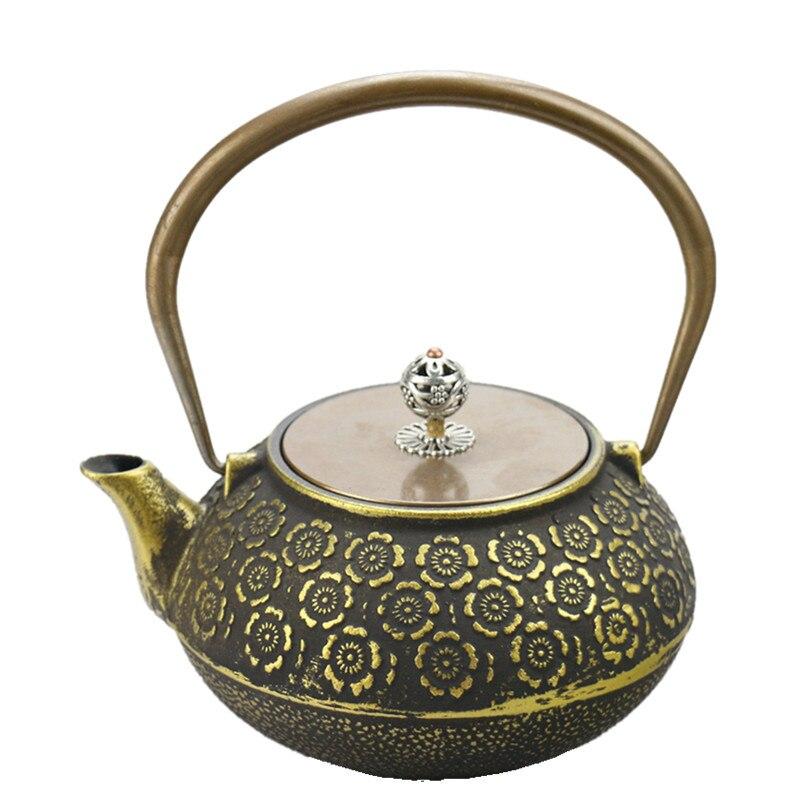 Drinkware 1.2L Japanese Cast Iron Tea Pot Golden Cherry  Kettle Creative Drinkware