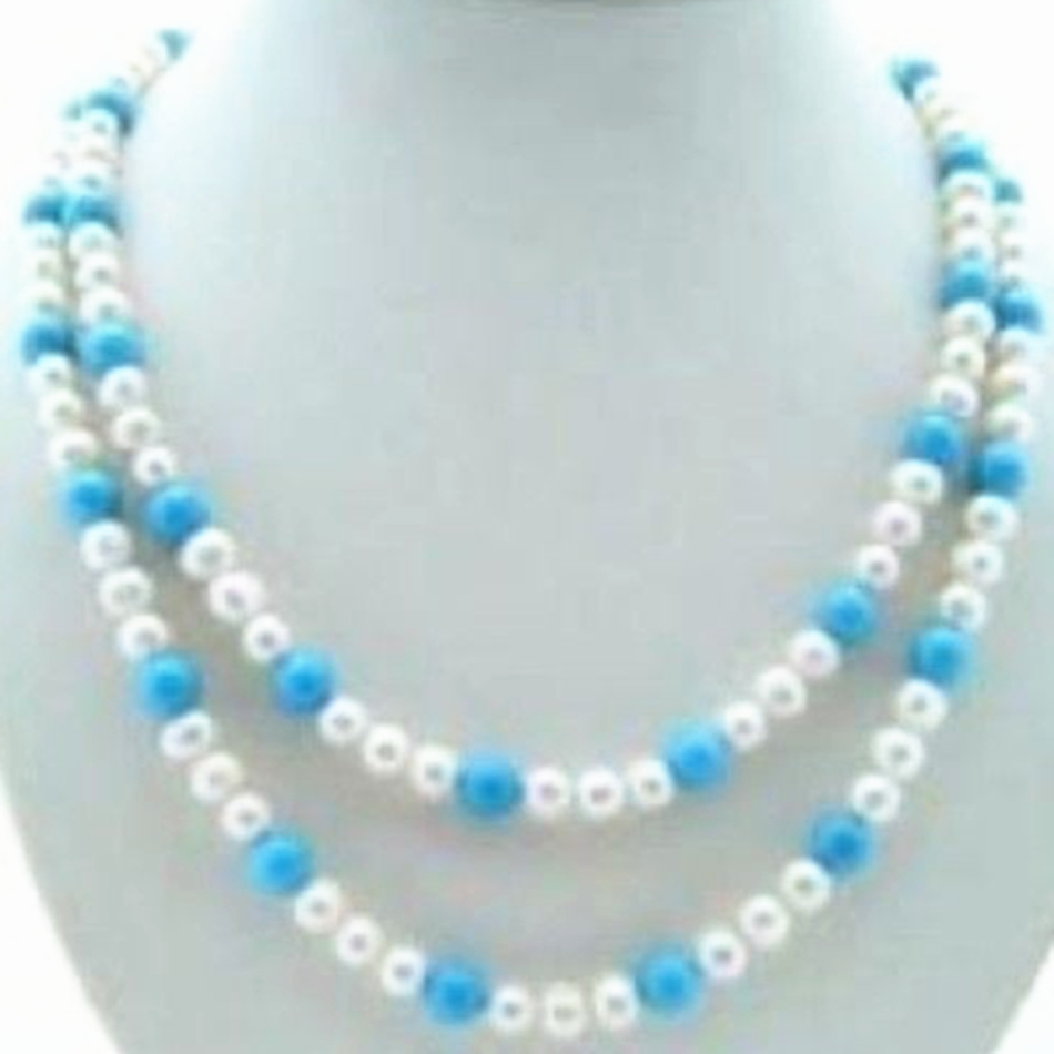 7-8mm natural white freshwater cultured pearl calaite turquoises round beads necklace new fashion women party jewels 35''MY5174