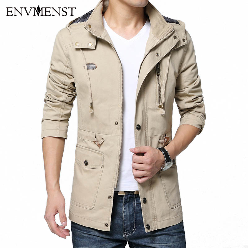 Envmenst 2017 Autumn New Arrivals 100% Cotton Mens Trench Coat Removable Hooded Jackets Men High Quality Male Windbreaker 5XL