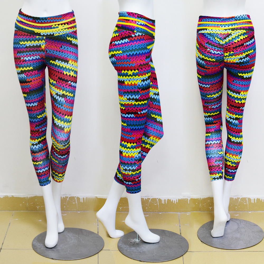 e15fafae2b3cb 2018 New Style Original Knitting Yarn Printed Leggings Women High Waist  Elastic Fitness Leggings Sporting Leggins Dropshipping-in Leggings from  Women's ...