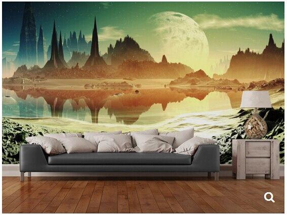 Woonkamer Naast Slaapkamer : Custom star universe behang alien stad ruïnes naast het meer d
