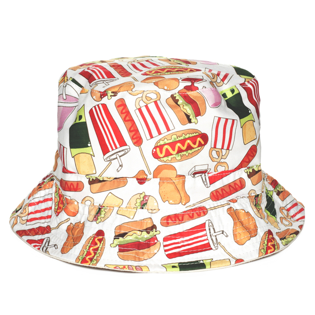 Fashion Flat Bucket Hat Men Women 3D Printed Fast Food Bob Beach Hip Hop  sombrero pescador Panama Girls 576f086fd87