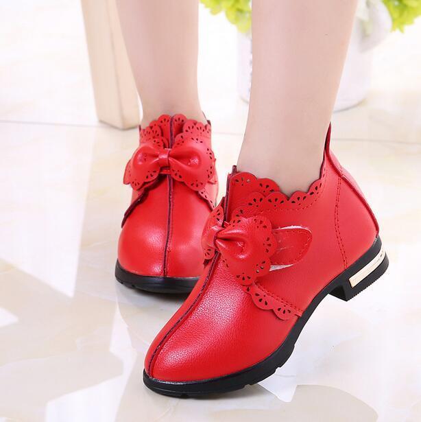 2016 Más Nuevo Otoño de los Bebés Zapatos Casuales antideslizantes Al Aire Libre Zapatos de Cuero Estudiante Kids Bowknot Zapatos de La Princesa
