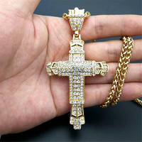 Religious Big Cross Pendant Necklace for Women/Men Gold Color Stainless Steel Crucifix Necklaces Male Christian Jewelry