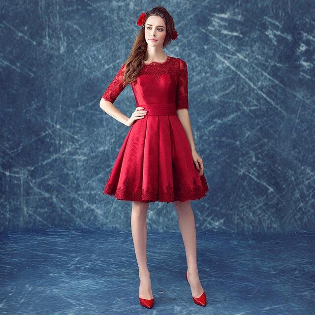 6d81874f0 Caliente venta 2016 vintage de encaje rojo vestidos coctel scoop media con  el modelo de flor