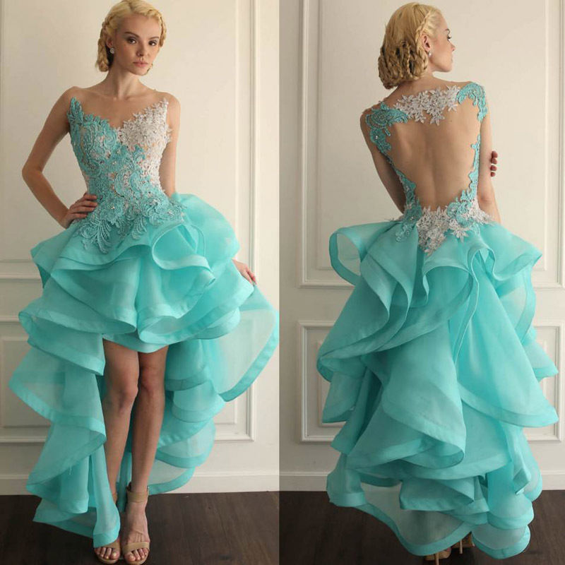 Online Buy Wholesale blue short front long back prom dresses from ...