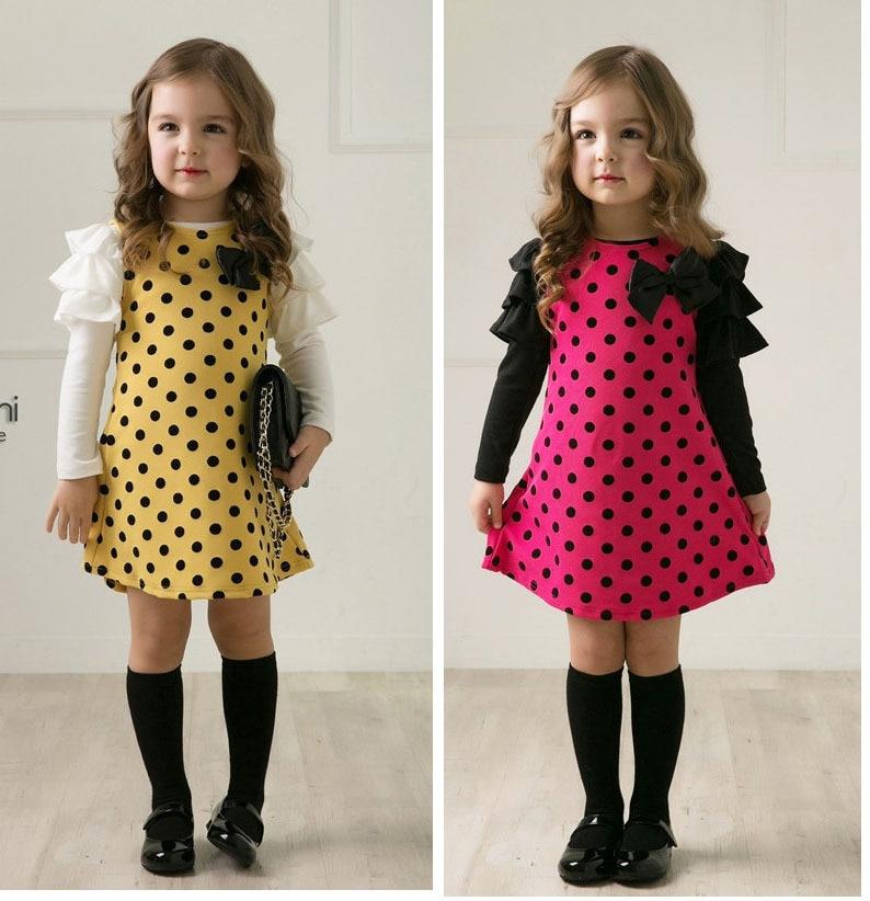 d53adca7233d5 الربيع الصيف فتاة اللباس أطفال فساتين للبنات الأزياء نقطة الطباعة فستان  الأميرة فتاة ملابس طويلة الأكمام