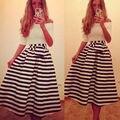 Лето Dress Полосатые Женщины Dress Slash Шеи Черный Белый Половина Рукавом Случайно Тонкий A-Line Платья Плюс Размер S/M/L/XL
