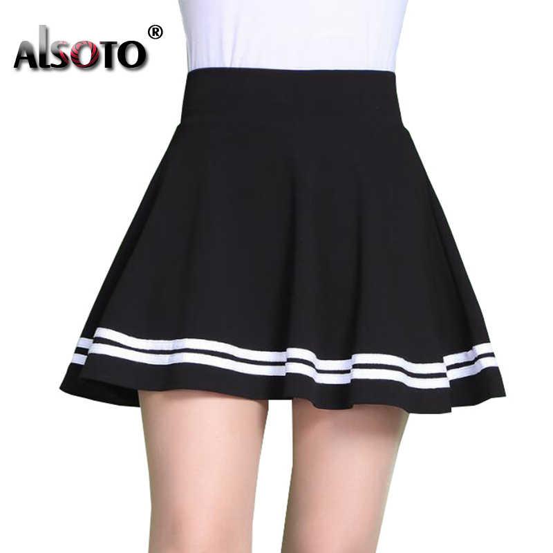 ALSOTO moda lato w stylu kobiet spódnica jednolity kolor Sexy wysokiej talii plisowana spódnica czarny koreański wersja Mini linia Saia