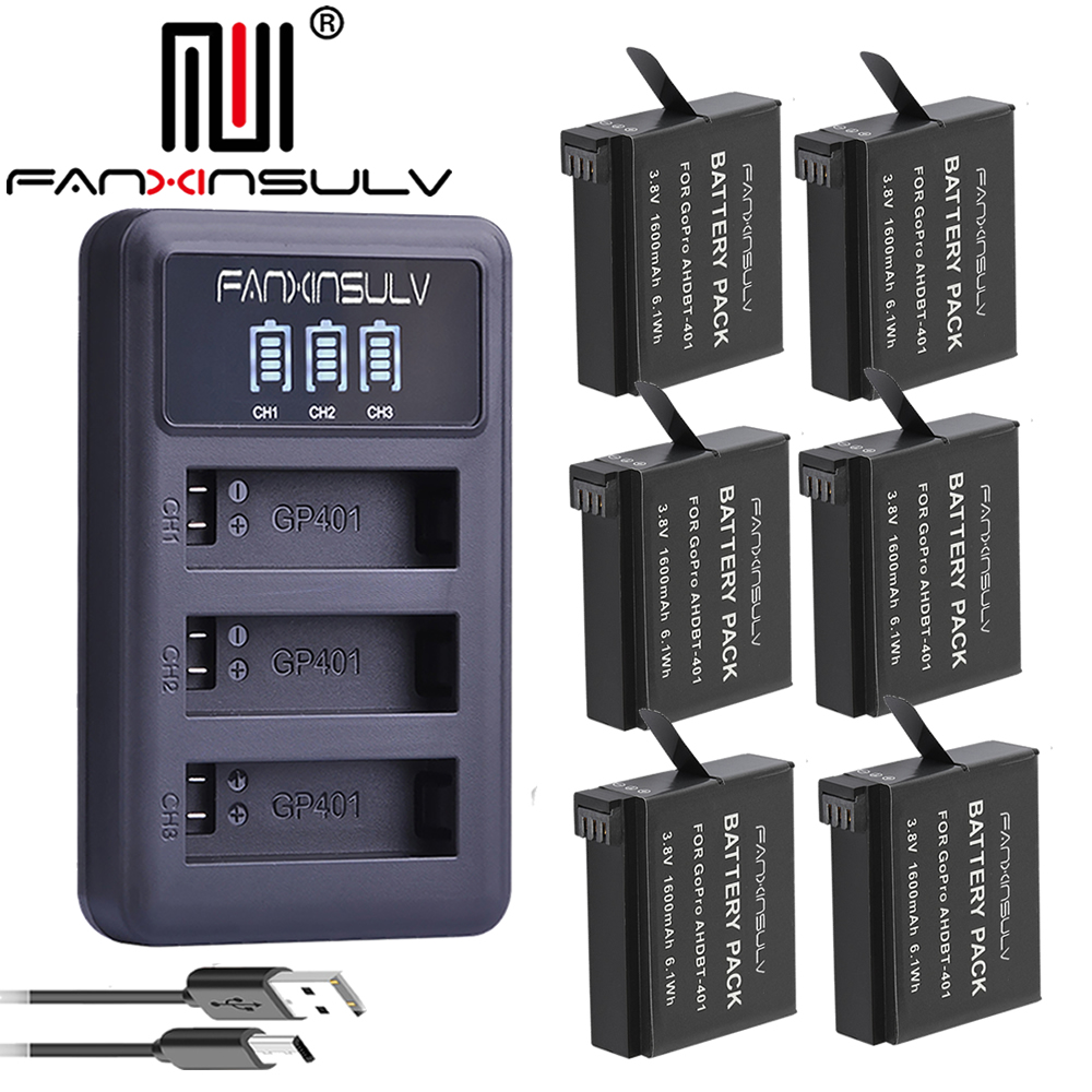 6Pcs AHDBT 401 Gopro Hero 4 Battery LED 3 Slots USB Charger For GoPro HERO4 Go Pro4 gopro 4 hero 4 SHIP WITH TRACKING NUMBER in Digital Batteries from Consumer Electronics