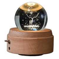 3D Crystal Ball Music Box The Deer Luminous Rotating Musical Box With Projection Led Light