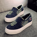 New Womens Flats 2016 Casual Jean Canvas Casual Slip-On Round Toe Thick Sole Vintage Shoes KJ174