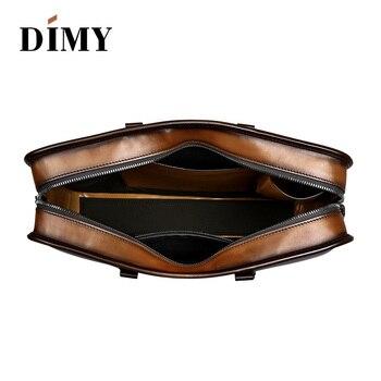 DIMY Vintage fait à la main italien véritable mallette en cuir pour homme patine à la main sacs à bandoulière pour ordinateur portable
