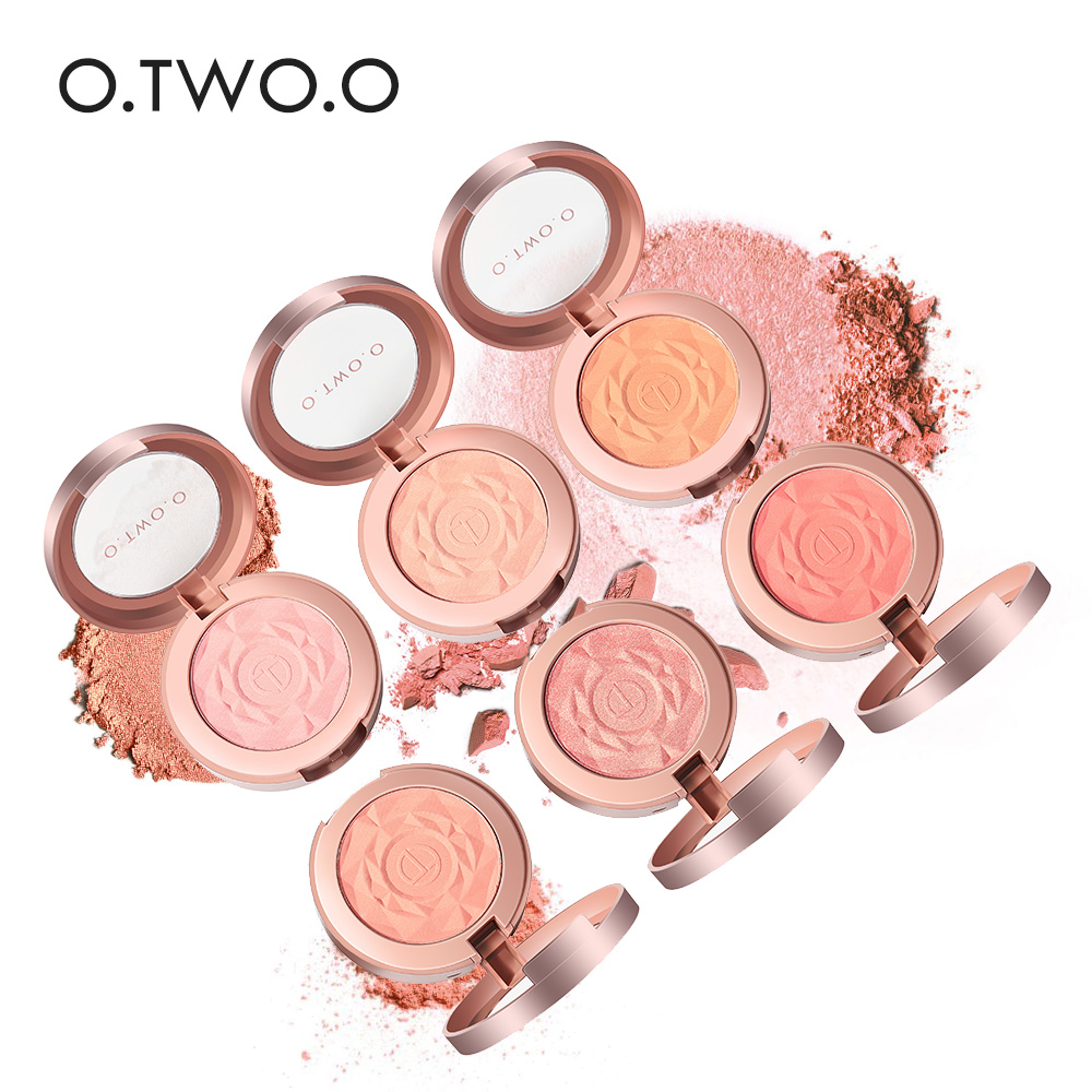 O.TWO.O Face Blusher Powder Rouge Makeup Cheek Palette Long-Lasting Minerals Blusher Brush Palette Cream Natural Blush Maquiagem