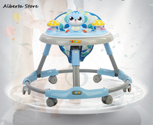 2019 New Foldable Baby Walker Multifunctional Large Chassis Rollover Prevention Music Entertainment with Dining Table Baby Gift 7 18 months baby walker anti rollover multi function with music baby push can sit can stand children walker adjustment wheel