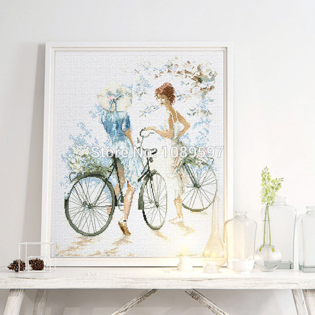 2018 New Fishxx Cross Kits T004 Bicycle Girl Drawing House Landscape Living Room  Decoration Crafts Embroidery