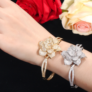 Image 5 - CWWZircons Yellow Gold Color Heart Shape Flower Bridal Wedding Party CZ Bangle Bracelets and Rings Sets for Brides Jewelry T193