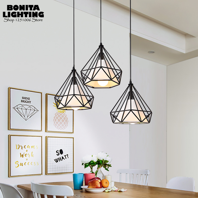 American Hanging Lamps For Dining Room Diamond Birdcage Iron Cloth Pendant Lights Shades Retro Lamp Pyramid