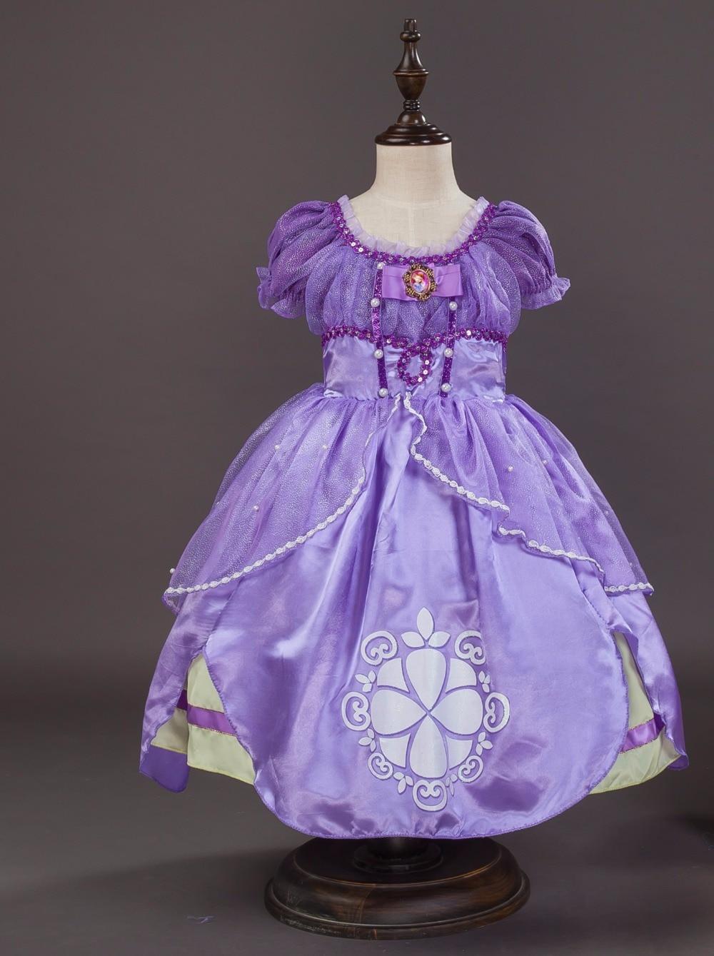 2017 Fancy Kids Girls High Quality Sofia Princess Fluffy Costume Princess Sophia Dress Summer Dress Birthday Party dress
