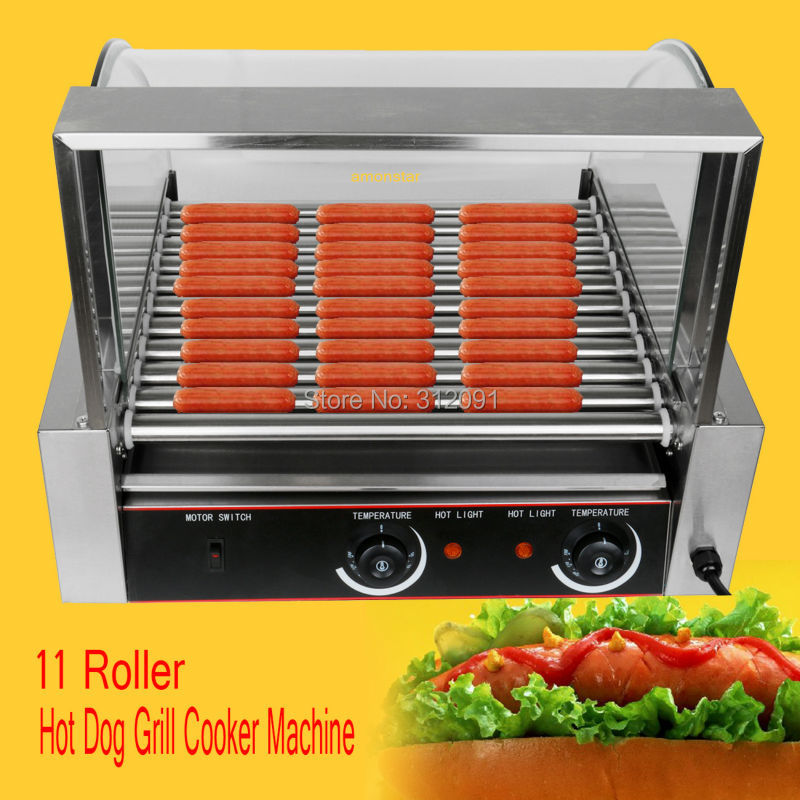 Ship from USA! Commercial 2200w 30 Hot Dog Maker 11 Roller Stainless Sausage Grill Cooker Machine with Cover usa ship