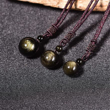 Natural Golden Obsidian Transfer Luck Bead Pendant Men and Women's Fashion Crystal Ball Necklace Pendulum Jewelry Gift Dropping(China)