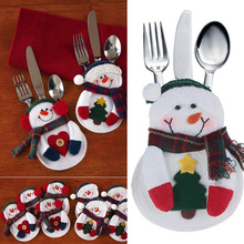 8pcs/set Xmas Decoration Nonwoven Fabric Snowman Kitchen Tableware Holder Pocket Christmas Decoration Supplies