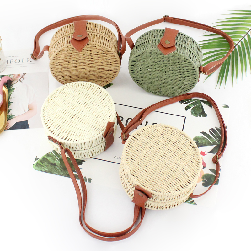 Women Summer Rattan Bag 2019 Round Straw Bags Handmade Woven Beach Cross Body Bag Circle Bohemia Handbag Bali Box Dropshipping