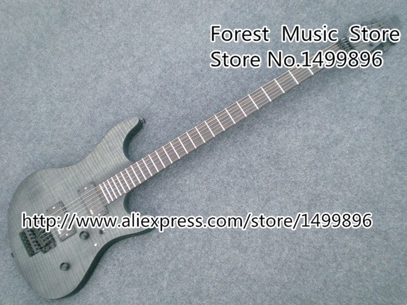 High Quality Dark Grey Tiger Flame Solid Guitar Body China Electric Guitar With Floyd Rose Tremolo Lefty Available high quality blue finish mahogany body lp custom electric guitar with china floyd rose tremolo for sale