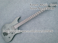 High Quality Dark Grey Tiger Flame Solid Guitar Body China Electric Guitar With Floyd Rose Tremolo Lefty Available