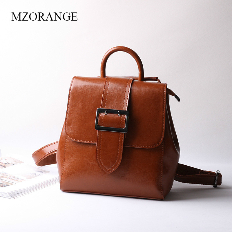 MZORANGE Vintage Wax Oil Genuine Leather Women Backpack Quality Cowhide Leather Traveling Backpacks For Girls Female School Bag women s oil wax genuine cowhide leather backpack lady girl school bag crossbody shoulder travel bag for woman mr1037