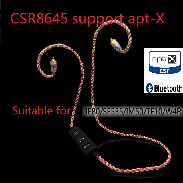 Pizen AptX Bluetooth cable for Shure SE215 SE535 UE900 TF10 APTX AAC earphone cable for ie80 W4R IM50 LS400 Z5 A2 H3 XBA300AP