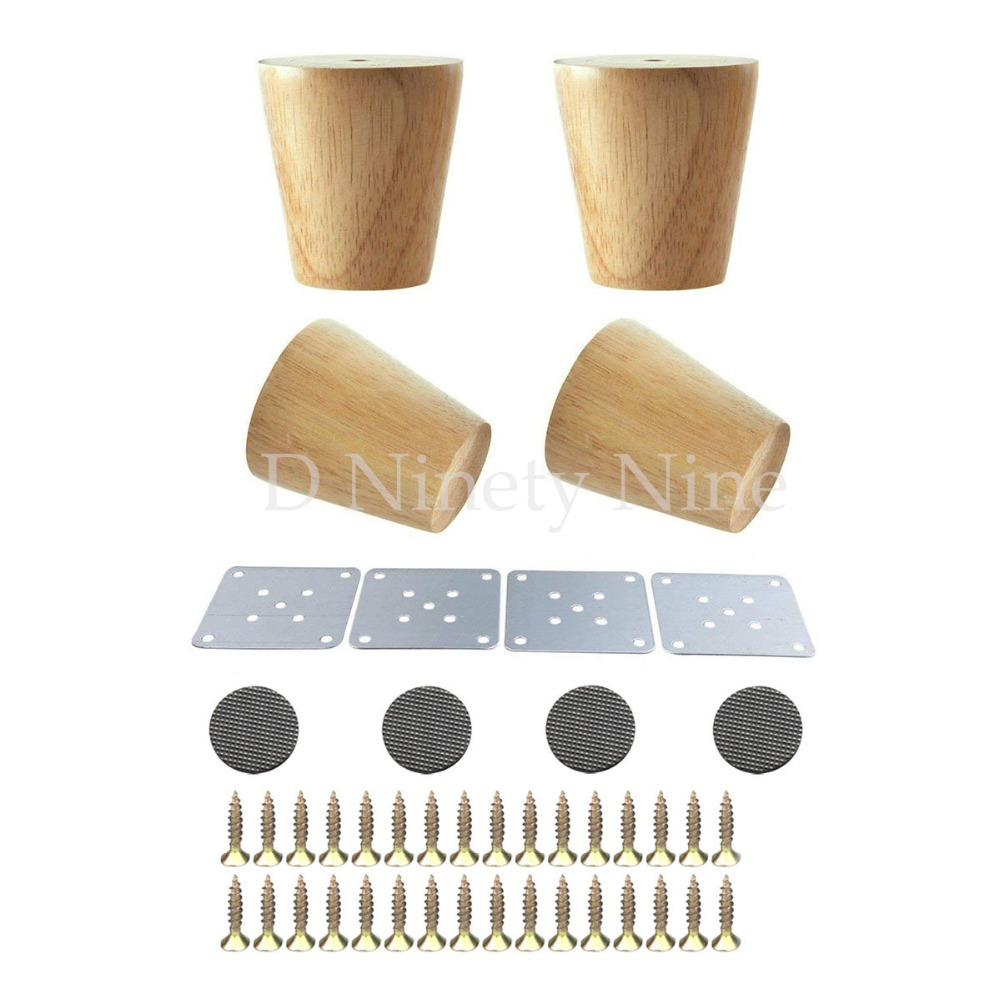Natural Oak Wood Reliable 80x58x38mm Wood Furniture Leg Cone Shaped Wooden Feet For Cabinets Soft Table Set Of 4
