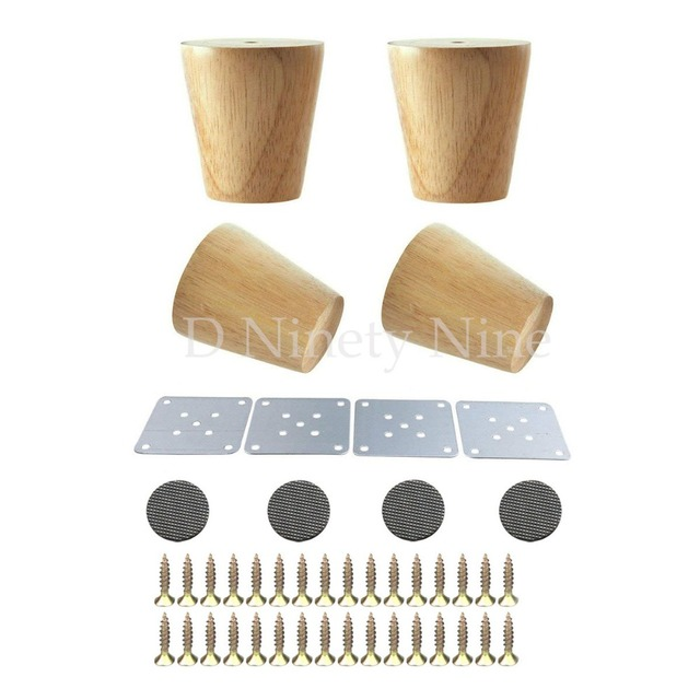 Natural Oak Wood Reliable 80x58x38mm Furniture Leg Cone Shaped Wooden Feet For Cabinets Soft Table Set Of 4
