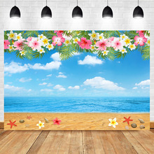 NeoBack Beach Backdrop Hawaiian Birthday Background Photography Flower Blue Sky White Clouds Booth Backdrops Photo Studio