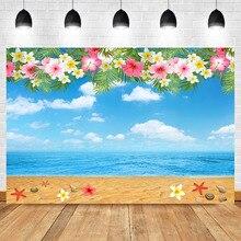 NeoBack Beach Backdrop Hawaiian Beach Birthday Background Photography Flower Blue Sky White Clouds Booth Backdrops Photo Studio